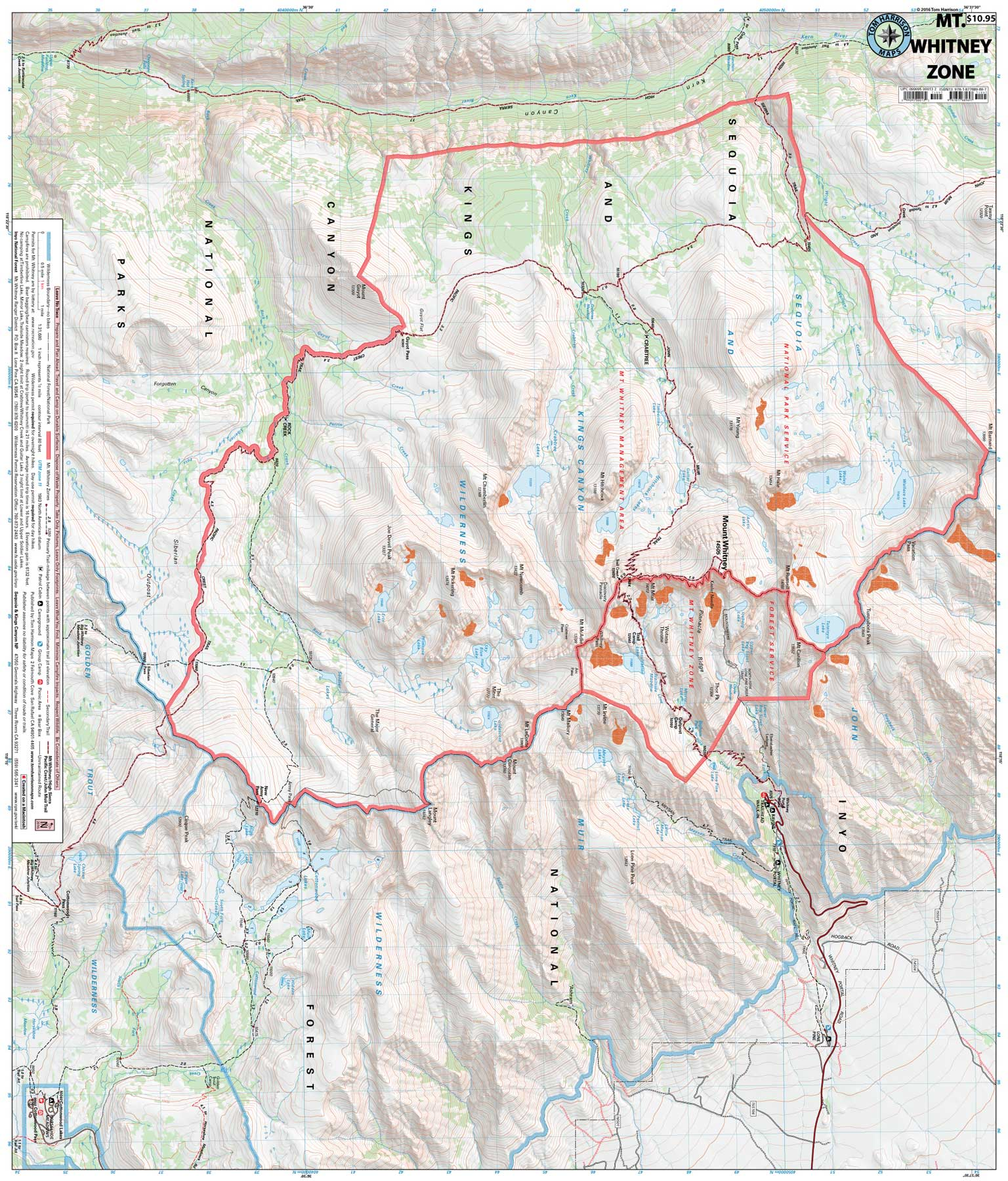 Where Is Mount Whitney On The California Map.Mt Whitney Zone Tom Harrison Maps