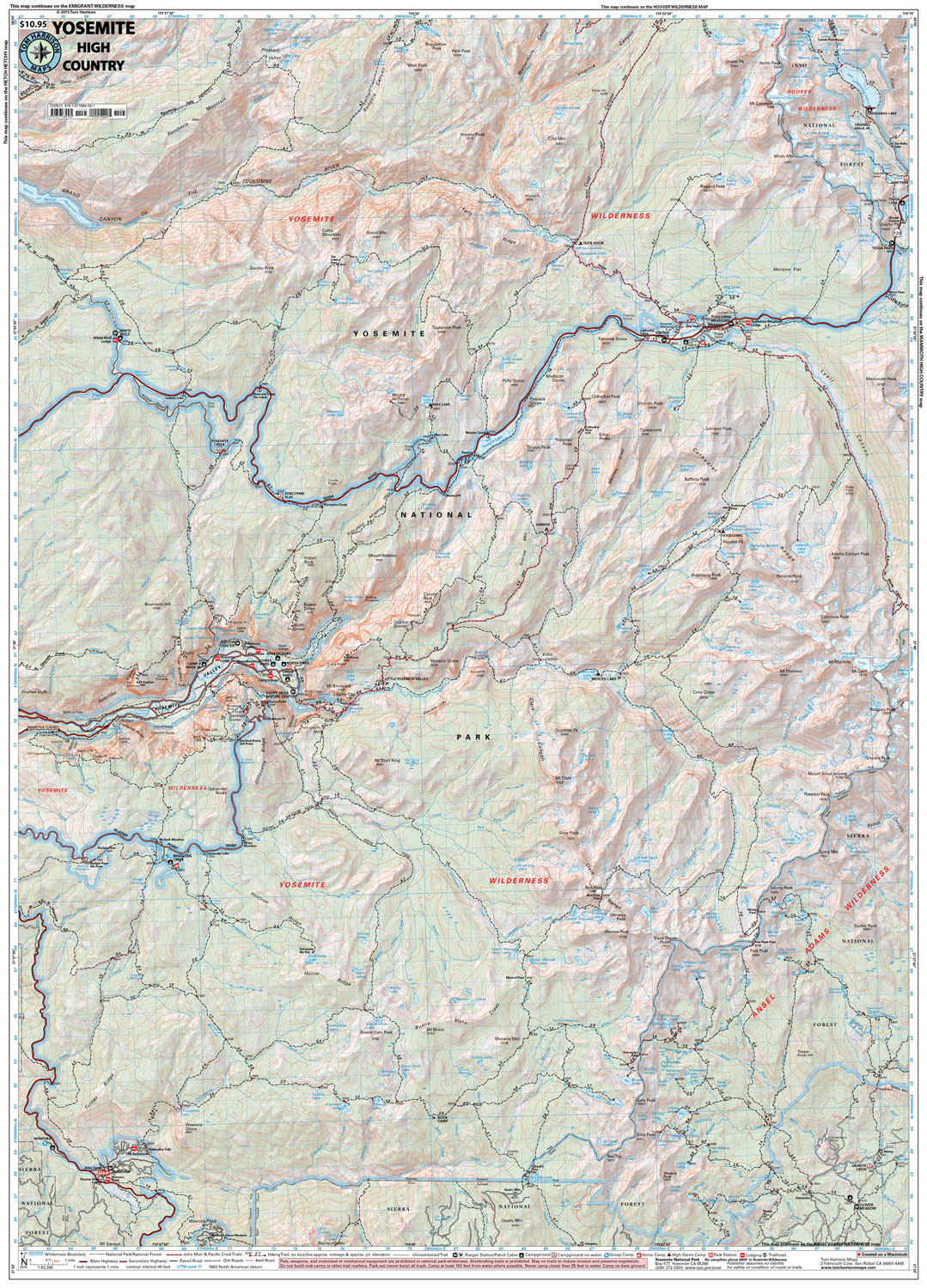 Yosemite High Country – Tom Harrison Maps